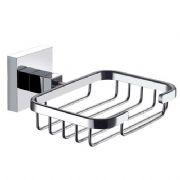 ECOSPA Modern Bathroom Soap Dish Basket Tray in Chrome